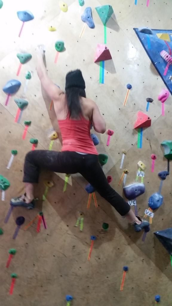Jeanne workin' it on the wall