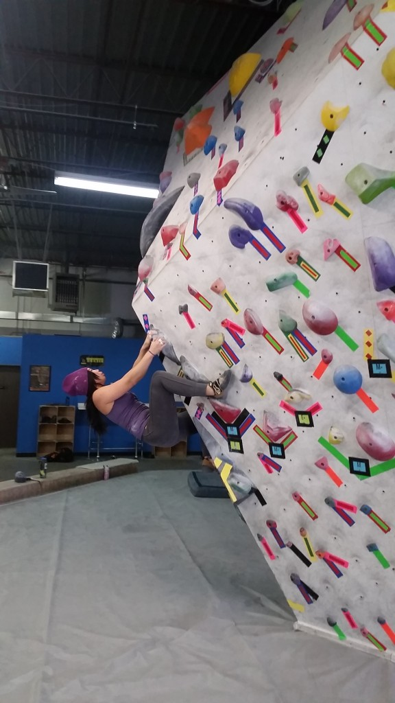 Powering through an overhang  @ Denver Bouldering Club this past weekend